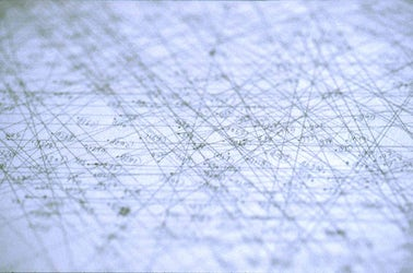 Atlas of Movements, Movement #25 (Brussels - Luzern - Brussels), time perspective drawing (detail), pencil on paper (1200mm x 1290mm), 1997