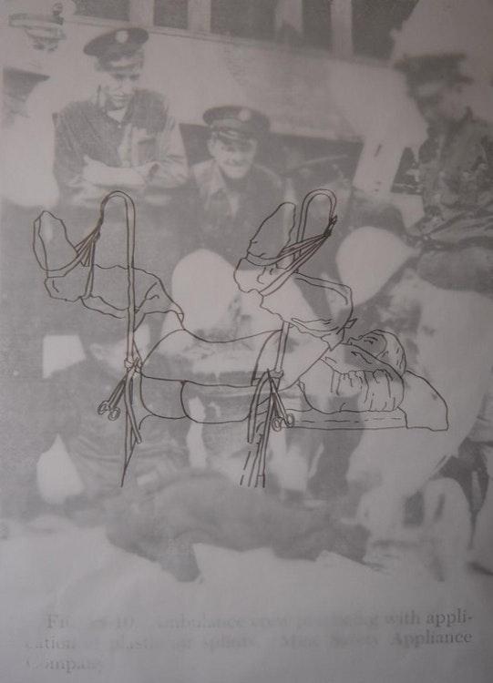 zwarte stift op transparant papier; 90 x 130 cm