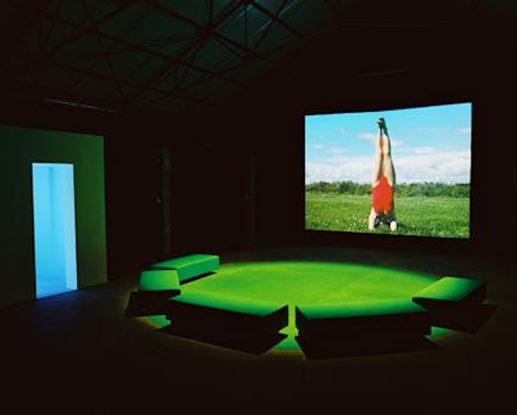 Installation view of the video Foundlings