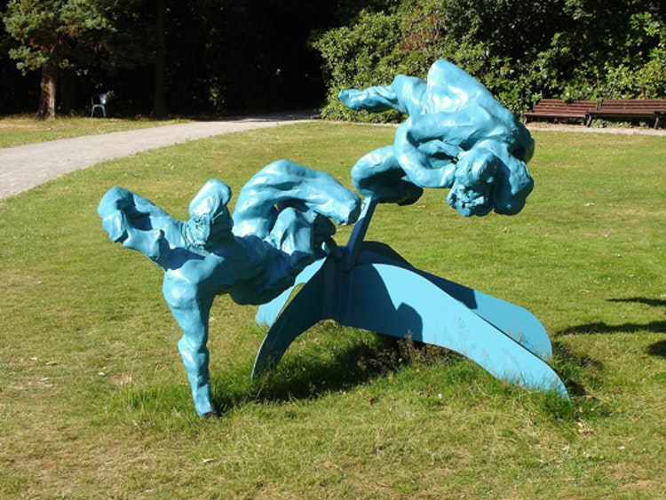 Two reclining figures on a Calder base for Middelheim