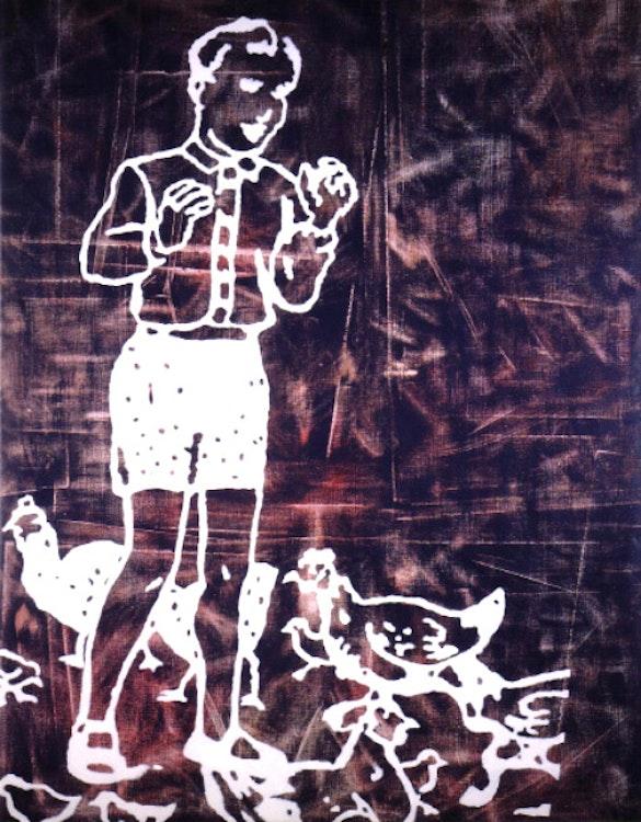 Autour d'eux, dans la cour des poules cherchent de la nourriture pour leurs poussins