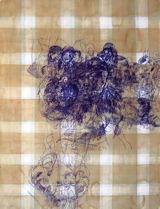 Pattern (tablecloth –yellow on blue) - blue figures