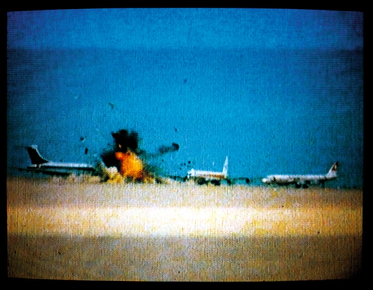 Three hijacked jets on desert Airstrip, Amman, Jordan 12 September 1970.