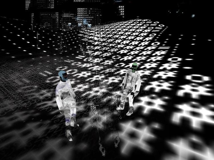 Devmap, 2004 Terwijl de bezoekers elkaars avatar kunnen zien, met elkaar kunnen babbelen en in dezelfde ruimte kunnen zijn, is de realiteit die ze elk zien en horen totaal verschillend.  © Workspace Unlimited