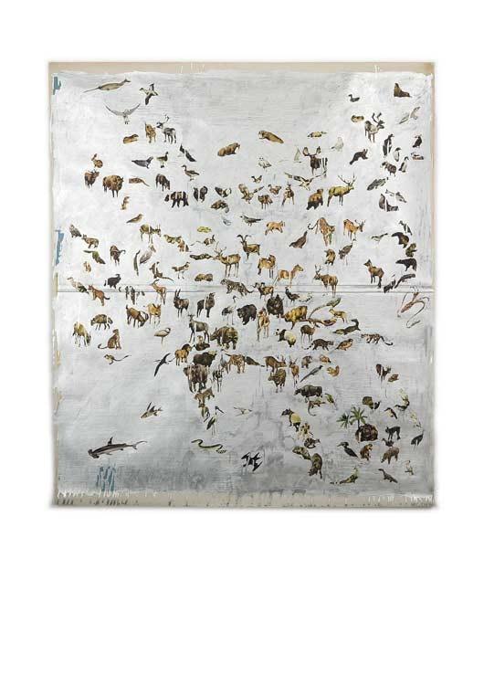 Friends of Tarzan, zilververf op poster, 170 x 135 cm
