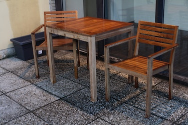 One table, two chairs