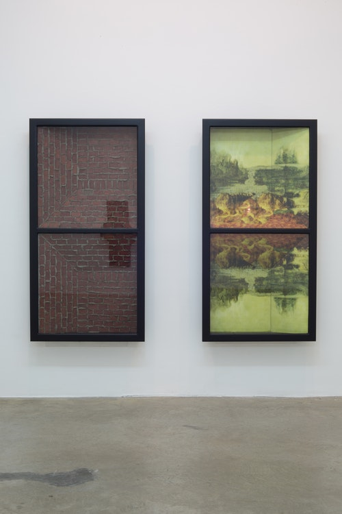 Tim Volckaert, Diptiek Leaving these landscapes behind, Except her, 2015